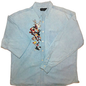 XL 90's Looney Tunes Denim Botton Down Shirt